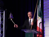 "The 55th President of Mexico, Vicente Fox performed the ""grito"" in honor of Mexican Independence Day"